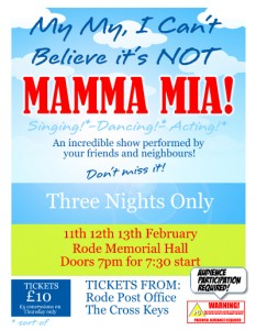Poster for my my, I can't believe it's not Mamma Mia - the show that's taking Rode by storm